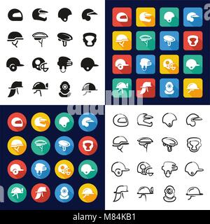 Helmet All in One Icons Black & White Color Flat Design Freehand Set - Stock Photo