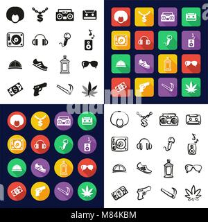 Hip Hop All in One Icons Black & White Color Flat Design Freehand Set - Stock Photo