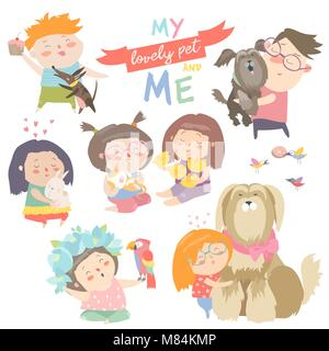 Set of characters. Children with pets. - Stock Photo