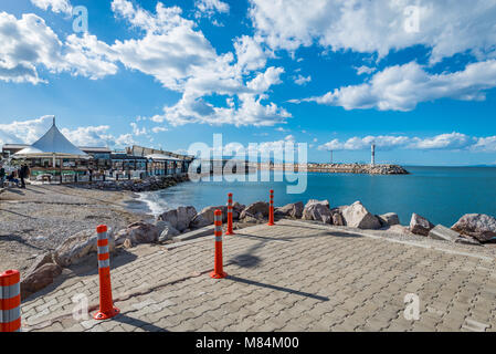 Sea view from the pier. Guzelbahce, Izmir, Turkey - Stock Photo
