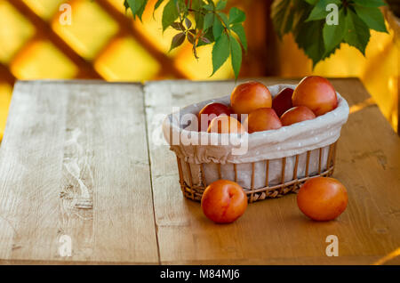 Ripe yellow plums in a wicker basket on a wooden table - Stock Photo