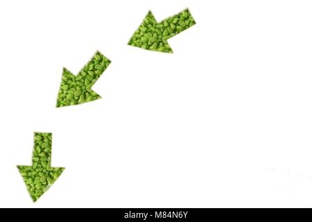 Green arrows direction note below - Stock Photo