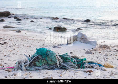 Ropes and nets collected along the coast of a North Pacific island by tourists for proper disposal to prevent harm - Stock Photo