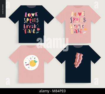 Love, spring, breakfast Lettering composition - t-shirt templates - Stock Photo