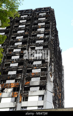 Grenfell Tower, residential social housing tower block tower block, London, fire damage disaster zone - Stock Photo