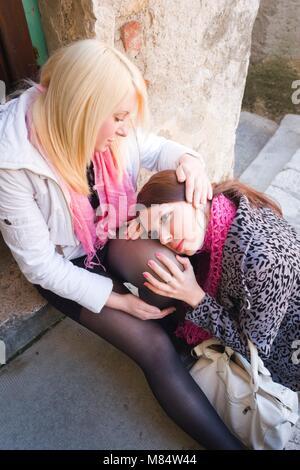 Female friends divorced compassion - Stock Photo