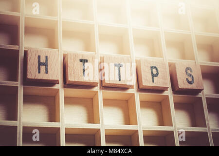 Macro Of The Word HTTPS Formed By Wooden Blocks In A Typecase - Stock Photo