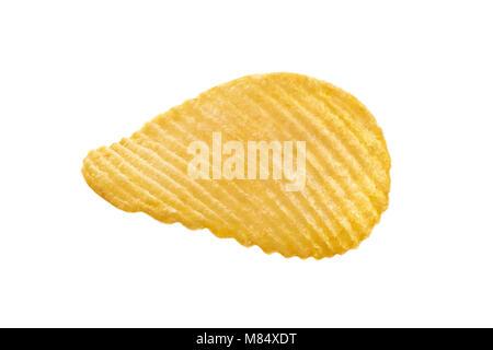 Single potato chip on white background close-up isolated - Stock Photo
