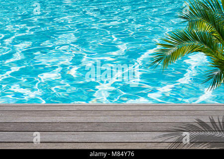 swimming pool, palm, sun deck, sun - Stock Photo
