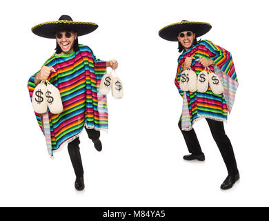 Handsome man in vivid poncho holding money bags isolated on white - Stock Photo