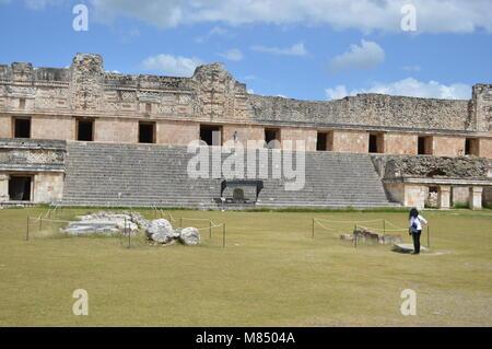 The Nunnery Quadrangle in Uxmal, Mexico - Stock Photo