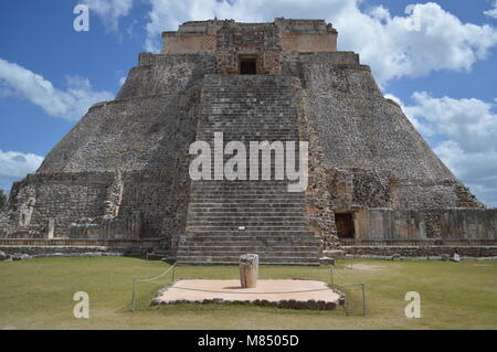 A view of the Pyramid of the Magician at Uxmal in Mexico - Stock Photo