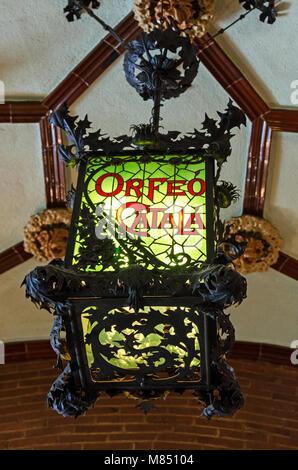 Ironwork lantern in the foyer of the Palau de la Música Catalana, Barcelona, Spain - Stock Photo