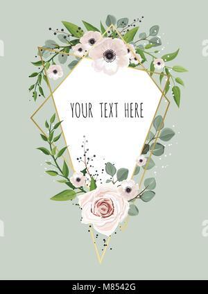 Geometric botanical vector design frame. Natural spring wedding card. - Stock Photo