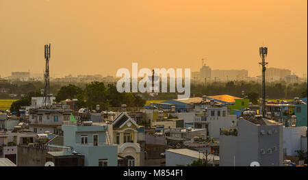 Saigon, Vietnam - Mar 11, 2018. Sunset on Saigon, Vietnam. Saigon (Ho Chi Minh City) is the largest city in Vietnam - Stock Photo