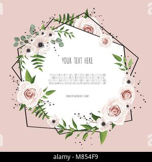Geometric botanical vector design frame. Natural spring wedding card. All elements are isolated and editable - Stock Photo