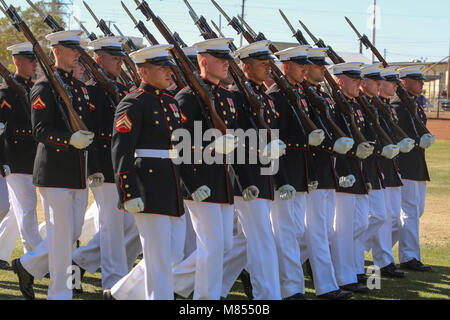 "The U.S. Marine Corps Silent Drill Platoon marches during the ""pass in review"" for a dress rehearsal of the Battle - Stock Photo"