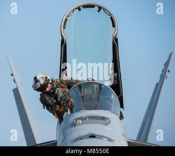 U.S. Navy Lt. Matthew Warshaw, a Strike Fighter Squadron (VFA) 115 F/A-18E Super Hornet pilot, climbs into the cockpit - Stock Photo