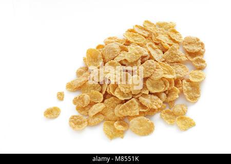 cornflakes on white background isolated - Stock Photo