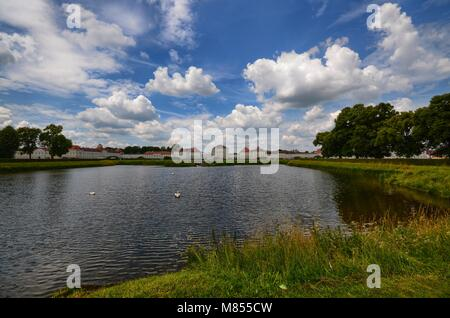 View of the Nymphenburg castle. Munich, Bavaria, Germany June 26, 2015 1:00 pm - Stock Photo