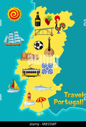 Portugal map. Portuguese national traditional symbols and objects - Stock Photo
