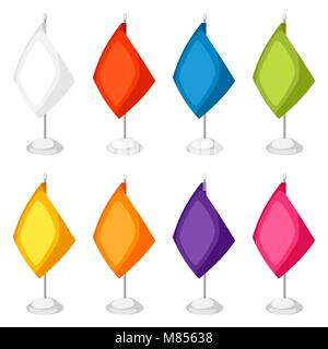 Colored flags templates. Set of promotional gifts and souvenirs - Stock Photo
