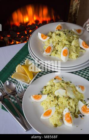 A traditional breakfast dish of Kedgeree - Stock Photo