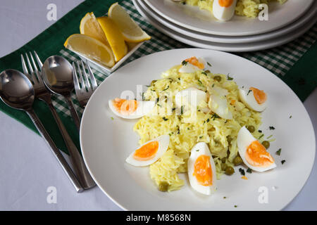 A traditional breakfast dish of Kedgeree - Stock Photo