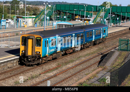 Arriva Trains Wales Class 150 150229 at Severn Tunnel Junction Station, Rogiet, Caldicot, Monmouthshire, Wales, - Stock Photo