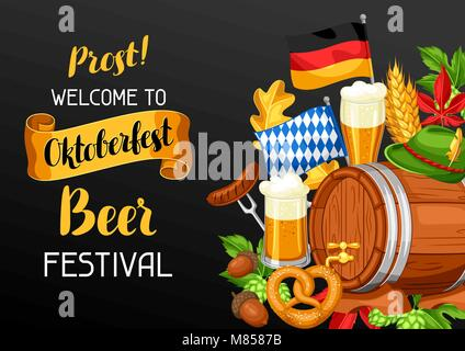 Oktoberfest. Welcome to beer festival. Invitation flyer or poster for feast - Stock Photo