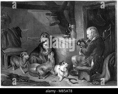 Engraving entitled Highland Music from the picture by Sir Edwin Henry Landseer in the Vernon Gallery scanned at - Stock Photo