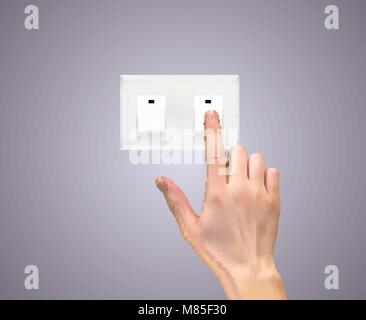 Realistic 3D Silhouette of  hand with light switch Vector Illustration - Stock Photo