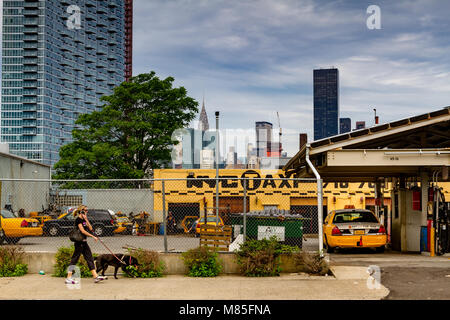 Ayoung woman walking a dog and talking on her phone walks past a Yellow Medallion Taxicab garage and Gas station - Stock Photo