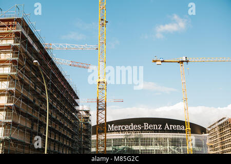 Reconstruction of the multi-purpose indoor stadium called Mercedes-Benz Arena. The arena is designed for sports - Stock Photo