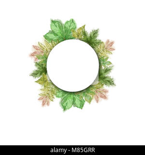 Round Template with Green Leaf Wreath. Tree Leaves Wreath with White Round Text Copy Space. Watercolor Hand Painted - Stock Photo