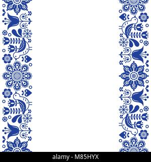 Scandinavian greeting card design, folk art retro vector design, ornament with birds and flowers in navy blue - - Stock Photo