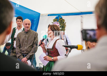Prague, September 23, 2017: Celebrating the traditional German beer festival called Oktoberfest in the Czech Republic. - Stock Photo