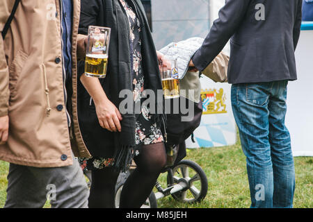 Prague, September 23, 2017: Celebrating the traditional German beer festival called Oktoberfest in the Czech Republic. - Stock Photo