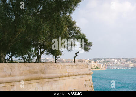 The Grand Harbour view from city walls of Valletta at sunny spring day. Malta Island - Stock Photo