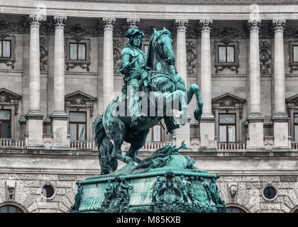Statue of Prince Eugene in front of Hofburg Palace, Vienna (Austria) - Stock Photo