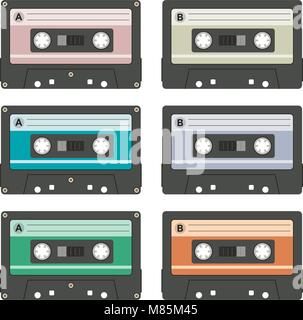 vector audio cassettes isolated on white background. collection of vintage music cassette tapes - Stock Photo