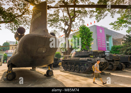 War Remnants Museum Vietnam, view of  discarded US military equipment on display outside the War Remnants Museum - Stock Photo