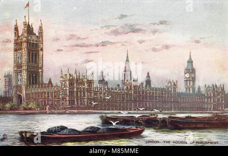 Houses of Parliament, Westminster, London, England, circa 1905 - Stock Photo
