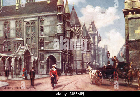 Royal Courts of Justice, London, England, circa 1905 - Stock Photo