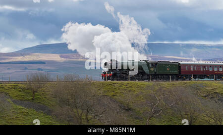 Puffing steam cloud, iconic locomotive LNER class A3 60103 Flying Scotsman travels in scenic countryside - Ribblehead, - Stock Photo