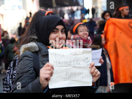 New York, USA. 14th Mar, 2018. Students from Civic Leadership Academy rally to protest against gun violence at Times - Stock Photo