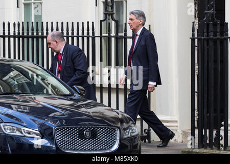 London, UK. 14th March, 2018. Philip Hammond MP, Chancellor of the Exchequer, leaves 11 Downing Street for Prime - Stock Photo
