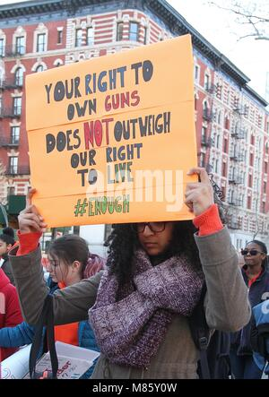 New York, NY, USA. 14th Mar, 2018. New York City students participate in the National Student Walkout protest against - Stock Photo