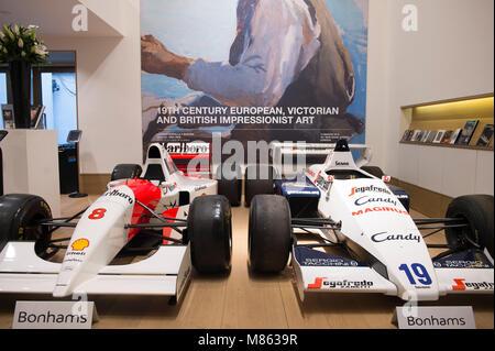 Bonhams, New Bond Street, London, UK. 15 March 2018. The 1984 turbocharged Formula 1 Toleman-Hart TG184, driven - Stock Photo