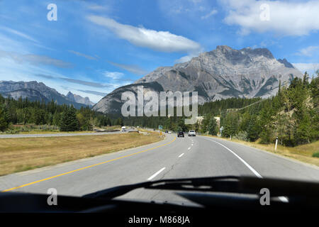 Road trip in the Canadian Rockies, Banff,National Park, BC, Canada - Stock Photo